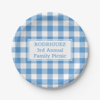 Light Blue White Buffalo Check Name Family Picnic Paper Plate