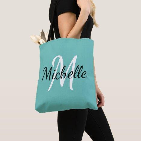 Light Blue & White Custom Monogram Tote Bag