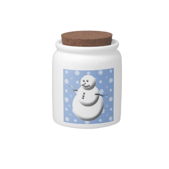 Light Blue & White Cute Snowman Holiday Candy Jar