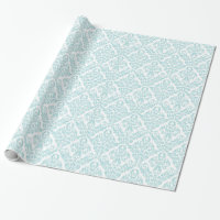 Light Blue White Damask Pattern Wrapping Paper