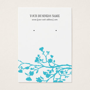 Light Blue White Flowers Custom Earring Card