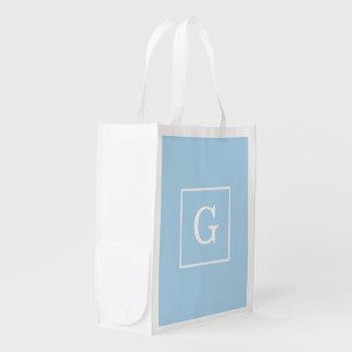 Light Blue White Framed Initial Monogram Grocery Bags