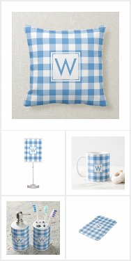 Light Blue White Gingham Plaid Monogram Home Decor