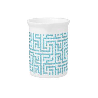 Light Blue & White Labyrinth Drink Pitcher