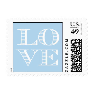 Light Blue White LOVE Postage Stamps small