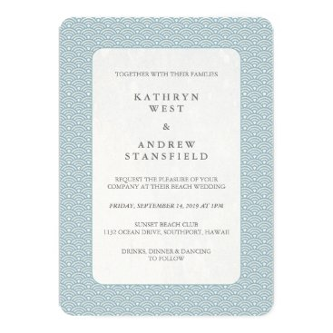 Beach Themed Light Blue   White Sea Wave Pattern Beach Wedding Card