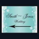 "Light Blue White Snowflake Wedding Direction Sign<br><div class=""desc"">This beautiful and elegant design, called Light Blue and White Snowflake Wedding, has a light blue and white reflected background. At the top and bottom is beautiful border of white snowflakes to set off your text. This would be perfect for a winter wedding or if you are looking for a...</div>"