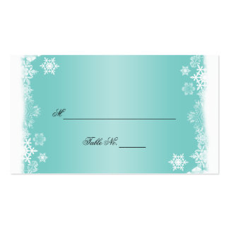 Light Blue White Snowflakes Wedding Place Cards Double-Sided Standard Business Cards (Pack Of 100)