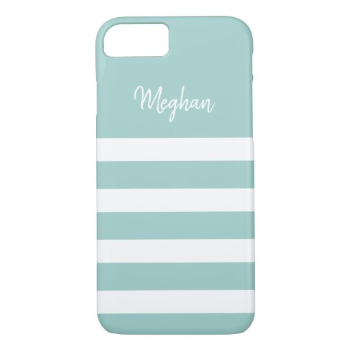 Light Blue & White Stripe Personalized iPhone Case