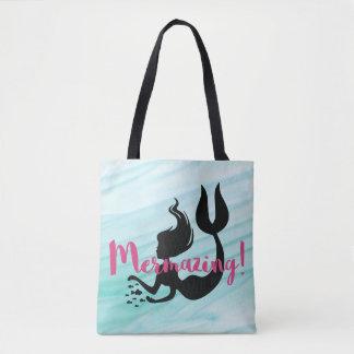 Light Blue-White Textured Pink Mermazing Mermaid Tote Bag