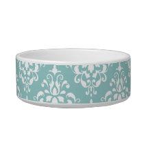Light Blue White Vintage Damask Pattern 1 Bowl