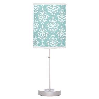 Light Blue White Vintage Damask Pattern 1 Desk Lamps