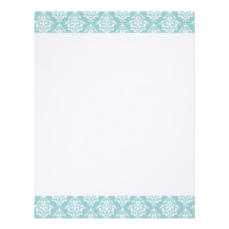 Light Blue White Vintage Damask Pattern 1 Letterhead