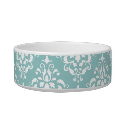 Light Blue White Vintage Damask Pattern 1 Pet Food Bowl