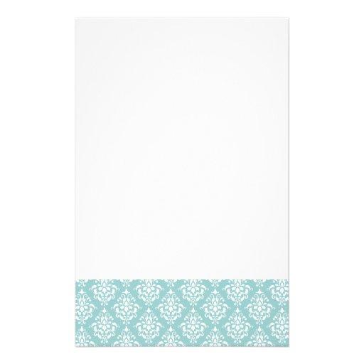 Light Blue White Vintage Damask Pattern 1 Stationery