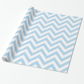 Light Blue White XL Chevron ZigZag Pattern Wrapping Paper