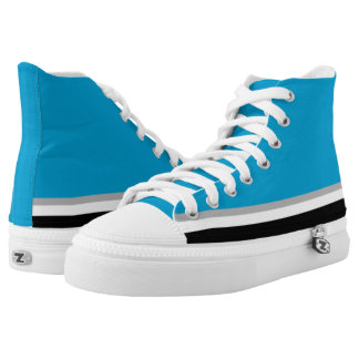 Light Blue with Black White and Silver Trim Hi-Top