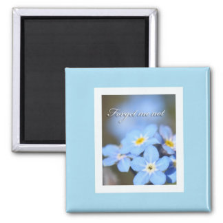 Light Blue with Forget Me Nots 2 Inch Square Magnet