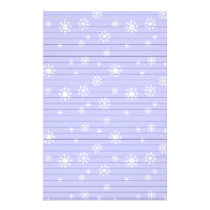 Light Blue With Snowflakes Stationery