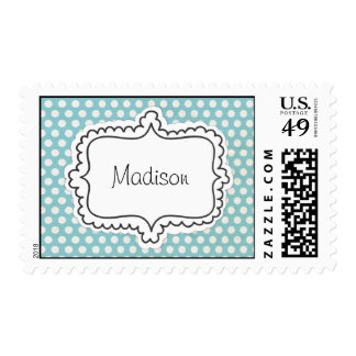 Light Blue with White Polka Dots and Sticker Frame Postage