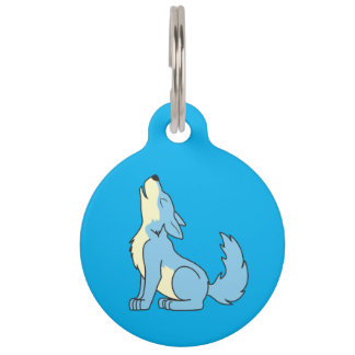 Light Blue Wolf Pup Howling Pet Name Tag
