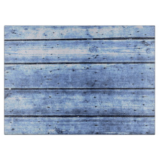 Light Blue Wood Planks Large Cutting Board