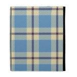 Light blue, yellow and brown tartan iPad folio cover