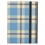 Light blue, yellow and brown tartan iPad folio case