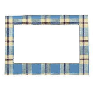 Light blue, yellow and brown tartan magnetic photo frame