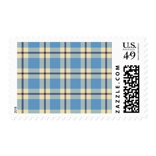 Light blue, yellow and brown tartan postage stamps