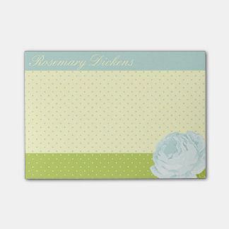 Light Blue Yellow Green Polkadots and Rose Post-it Notes