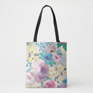 Light Blue & Yellow Watercolors Floral Pattern Tote Bag