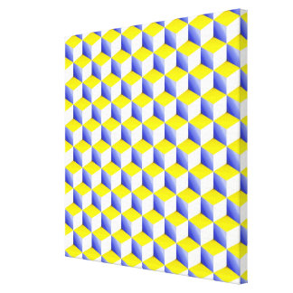 Light Blue Yellow White Shaded 3D Look Cubes Canvas Print