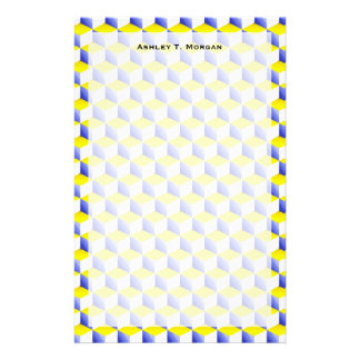 Light Blue Yellow White Shaded 3D Look Cubes Stationery