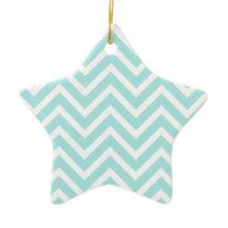 Light blue Zigzag pattern Ceramic Ornament