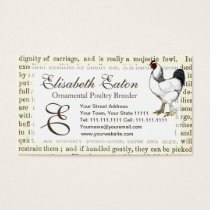 Light Brahma Rooster Vintage Country Classic Business Card