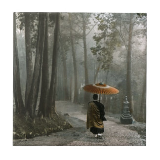 Light Breaks Through as Monk Descends Temple Steps Tile
