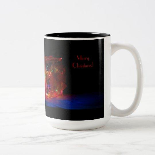 Light Brick Merry Christmas Two-Tone Coffee Mug