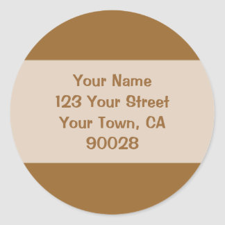 light brown address lable classic round sticker