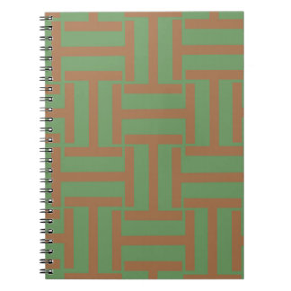 Light Brown and Green T Weave Spiral Note Books