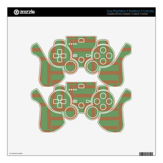 Light Brown and Green T Weave PS3 Controller Decals