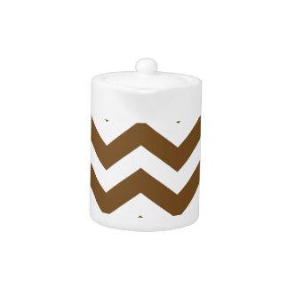 Light Brown And White Chevron City Teapot