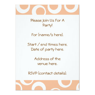 """Light Brown and White Circles Pattern. 6.5"""" X 8.75"""" Invitation Card"""
