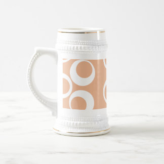 Light Brown and White Circles Pattern. 18 Oz Beer Stein