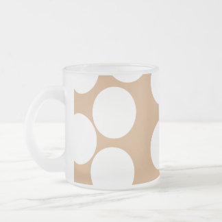 Light Brown and White Spot Pattern. Frosted Glass Coffee Mug