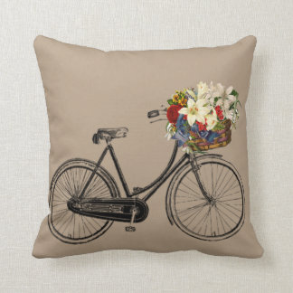 Light brown bicycle flower  🌸 Throw pillow