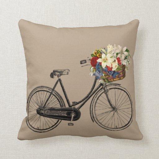 Throw Pillows With Bikes : Light brown bicycle flower Throw pillow Zazzle