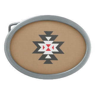 Light Brown Black White Red Aztec Navajo Pattern Belt Buckle