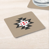 Light Brown Black White Red Aztec Pattern Square Paper Coaster
