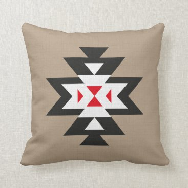Aztec Themed Light Brown Black White Red Navajo Aztec Pattern Throw Pillow